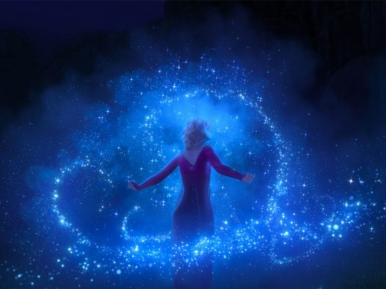 Elsa performing magic in Frozen 2